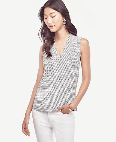 Image of Petite Geo Pleated V-Neck Shell