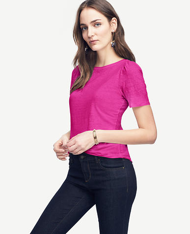 Image of Linen Puff Sleeve Tee