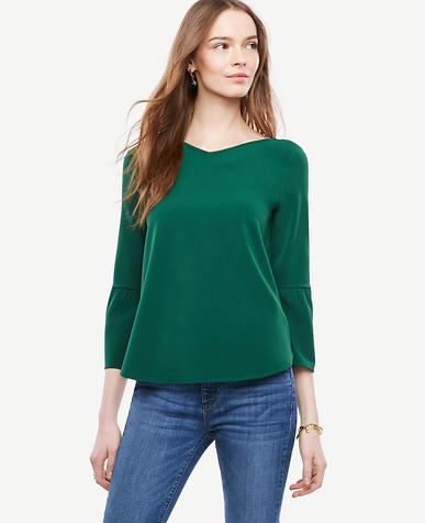 Image of Matte Jersey Flare Sleeve Top