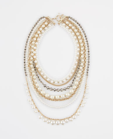 Image of Pearlized Crystal Statement Necklace