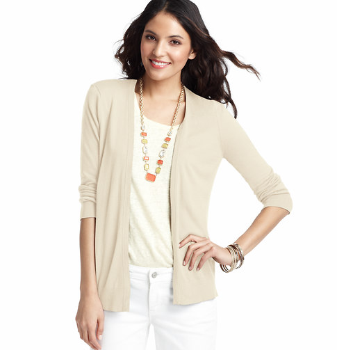 LOFT 3/4 Sleeve Open Cardigan