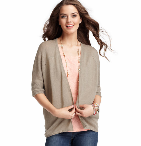 LOFT Petite Open Front Elbow Sleeve Cardigan