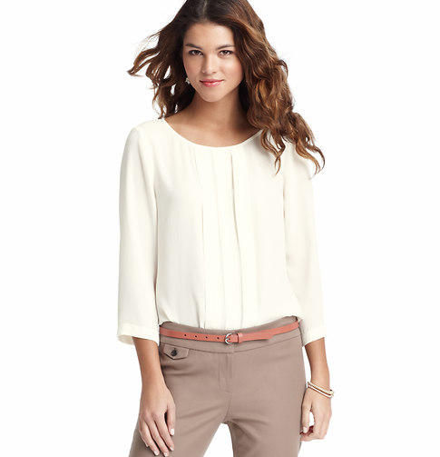 LOFT Box Pleat 3/4 Sleeve Blouse