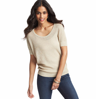 Metallic Textured Short Sleeve Sweater