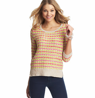 Multicolored Textured 3/4 Sleeve Sweater