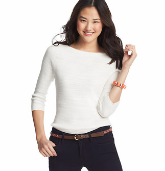 Slub Cotton 3/4 Sleeve Sweater