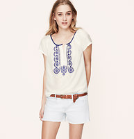 Embroidered Cotton Silk Top