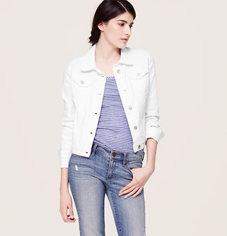 Petite Cropped Denim Jacket in White