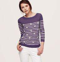 Petite Stripe Embellished Sweater