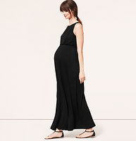 Maternity Pleated Shoulder Maxi Dress