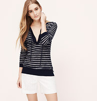 Petite Striped Tie Neck Tunic