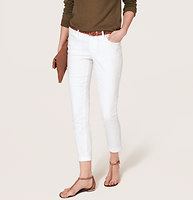 Modern Skinny Cuffed Ankle Jeans in White