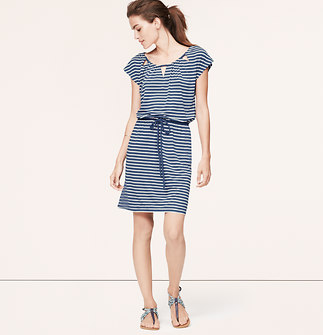 Striped Cutout Tie Waist Dress
