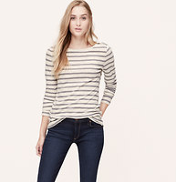 Striped Shoulder Zip Tee