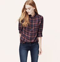 Plaid Henley Blouse