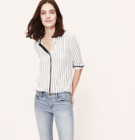 Ink Stripe Collarless Blouse