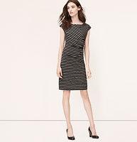 Stripe Side Shirred Dress