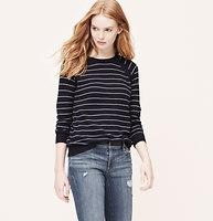 Striped Mesh Trim Sweater