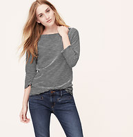 Striped Shoulder Button Boatneck Tee