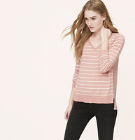 Petite Striped Mixed Media Sweater