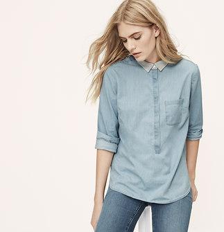 Knit Collar Softened Shirt