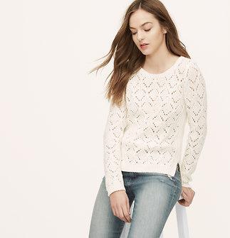 Petite Diamond Pointelle Sweater