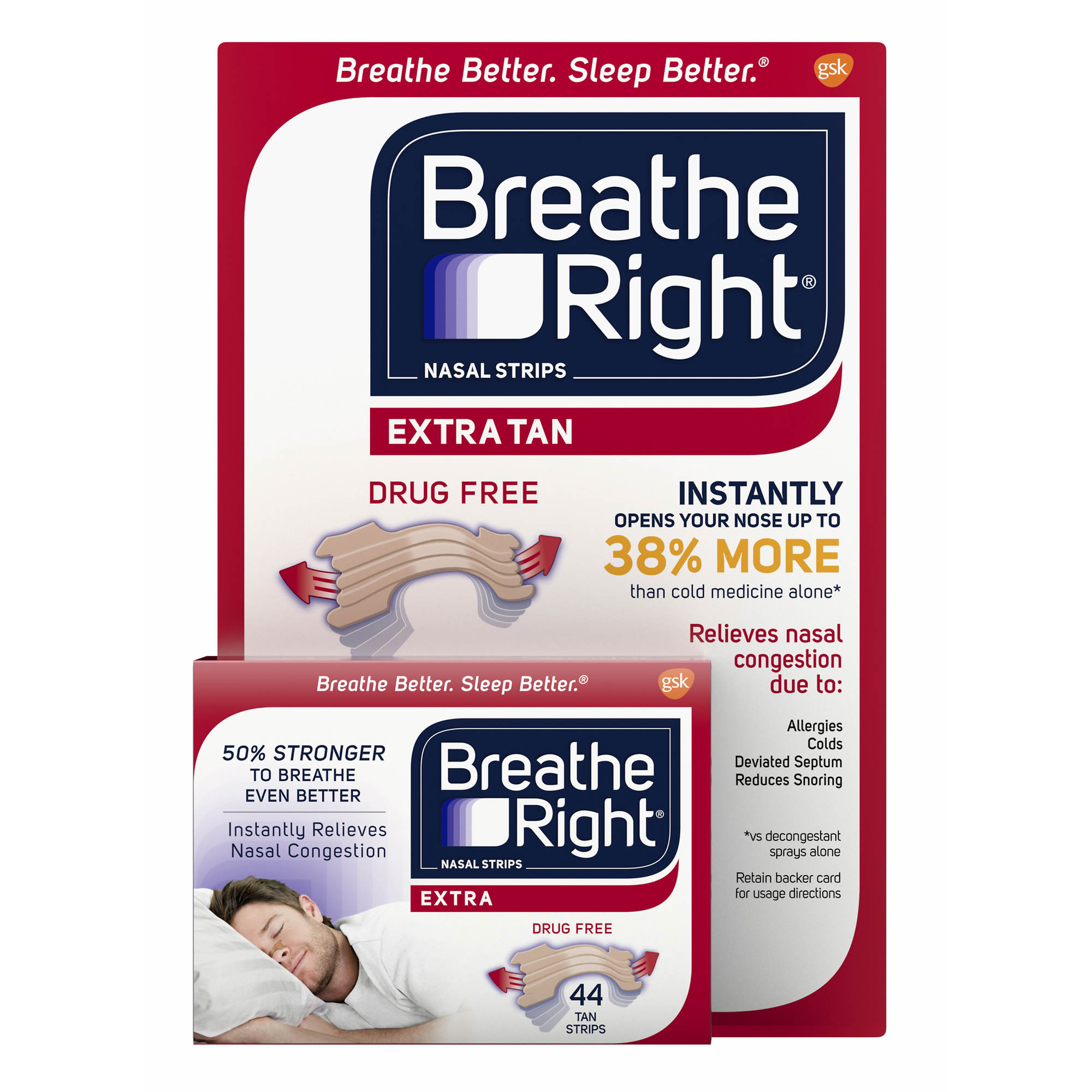 Breathe Right Extra-Large Nasal Strips, 44 ct. - Tan