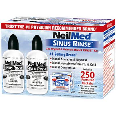 NeilMed Sinus Rinse 2 Bottles and 250 Premixed Packets Value Pack