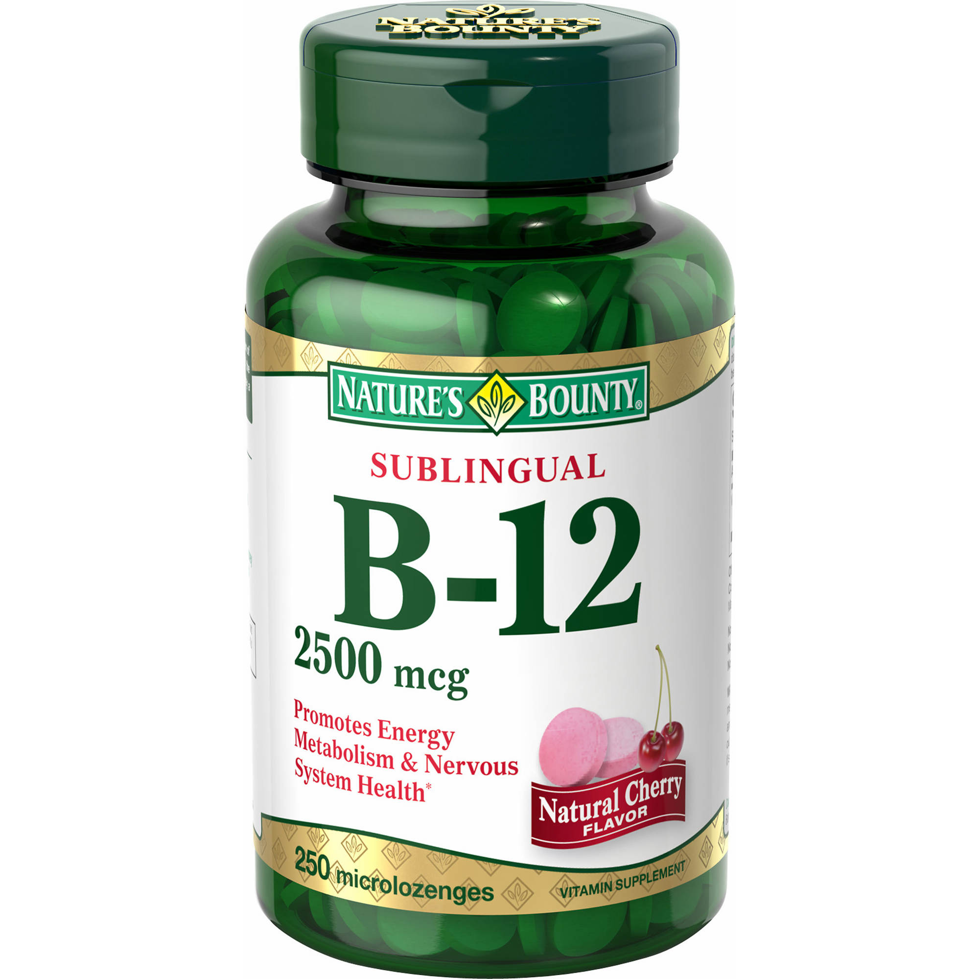 Nature's Bounty Vitamin B-12  2,500mcg Sublingual Microlozenges, 250 ct.