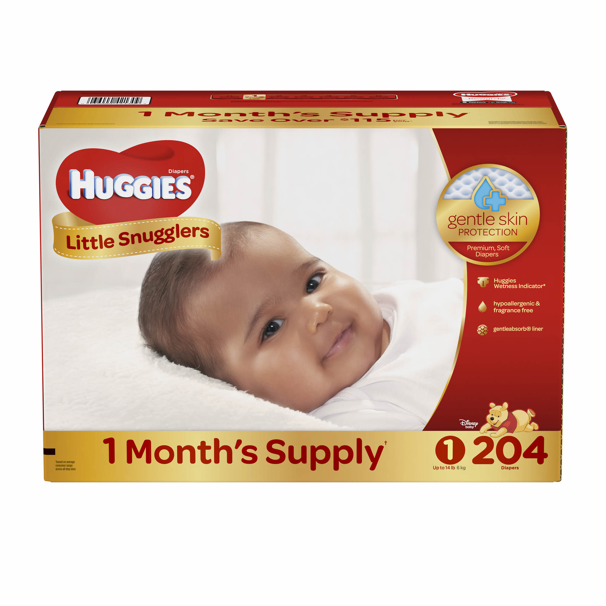 Kimberly-Clark Huggies Little Snugglers Baby Diapers, Size 1, Count Huggies Little Snugglers diapers are specially designed for gentle skin protection. With features like the pocketed-back waistband and GentleAbsorb liner that contain and draw the mess away, Little Snugglers help keep your baby's delicate skin clean and healthy.