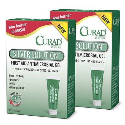 Curad Silver Solution Anti-Microbial Wound Gel, 1 Oz. Tube, 2-Pk