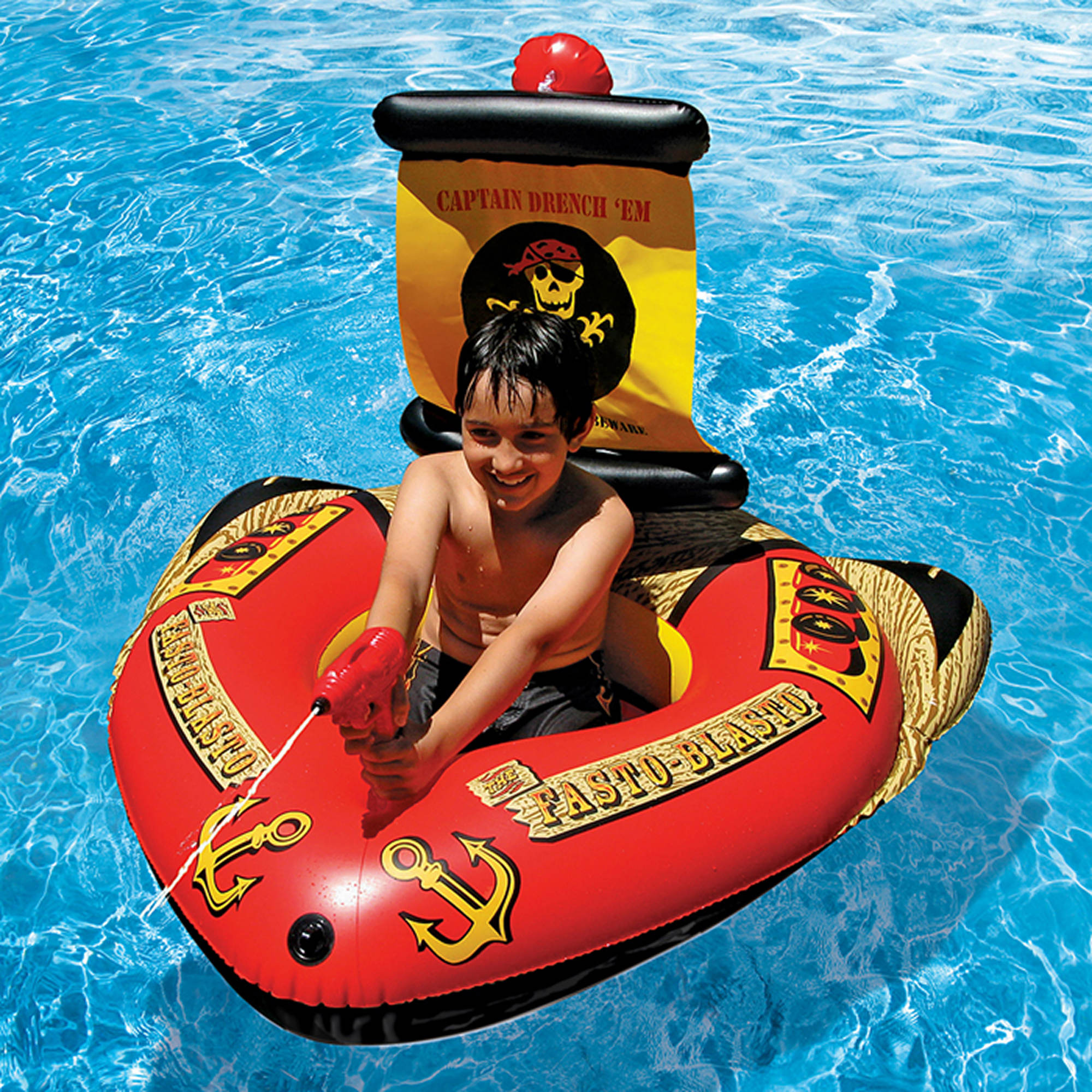 Poolmaster Pirate Ship Swimming Pool Float with Action Squirter
