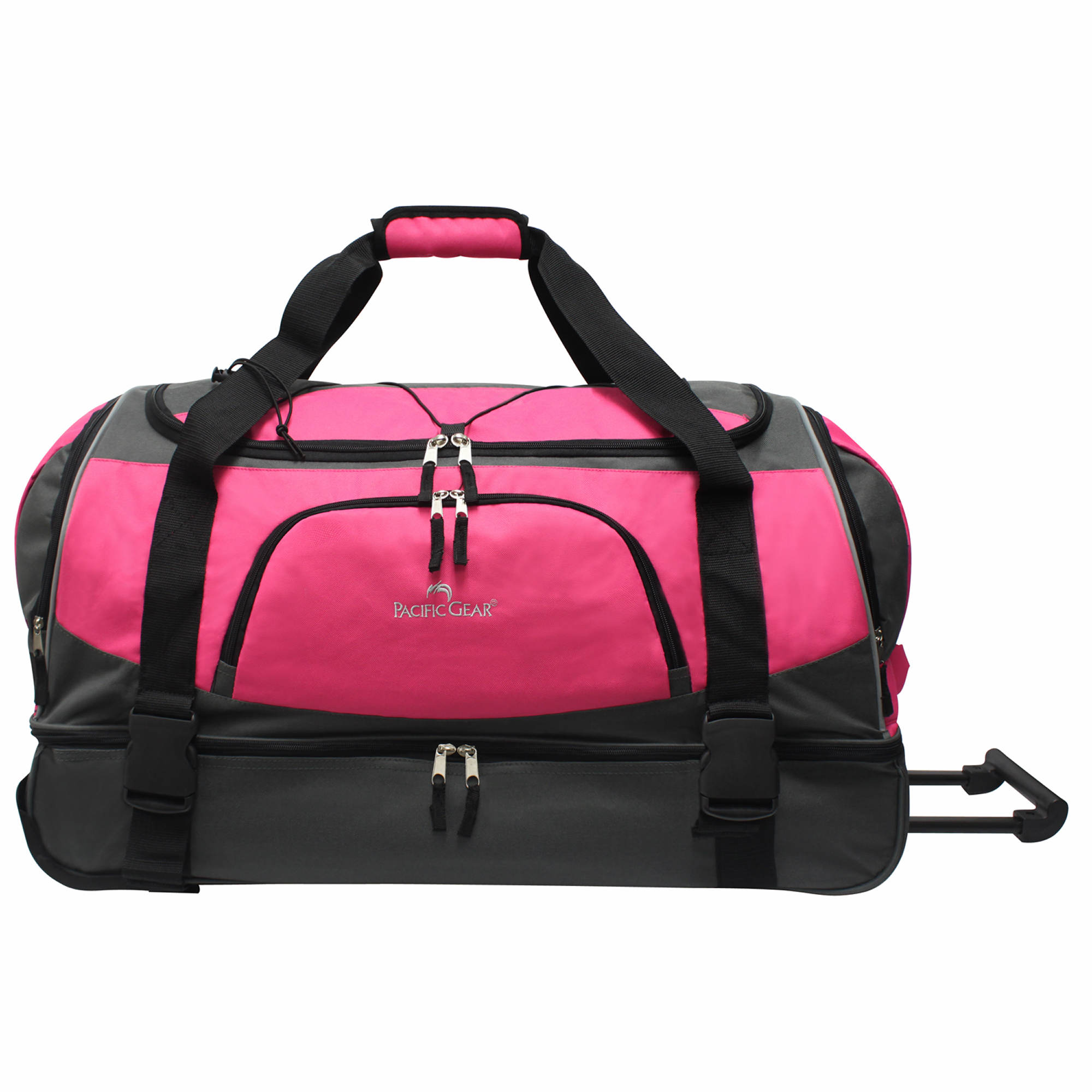 "Pacific Gear 30"" Drop-Bottom Rolling Duffel Bag - Pink"