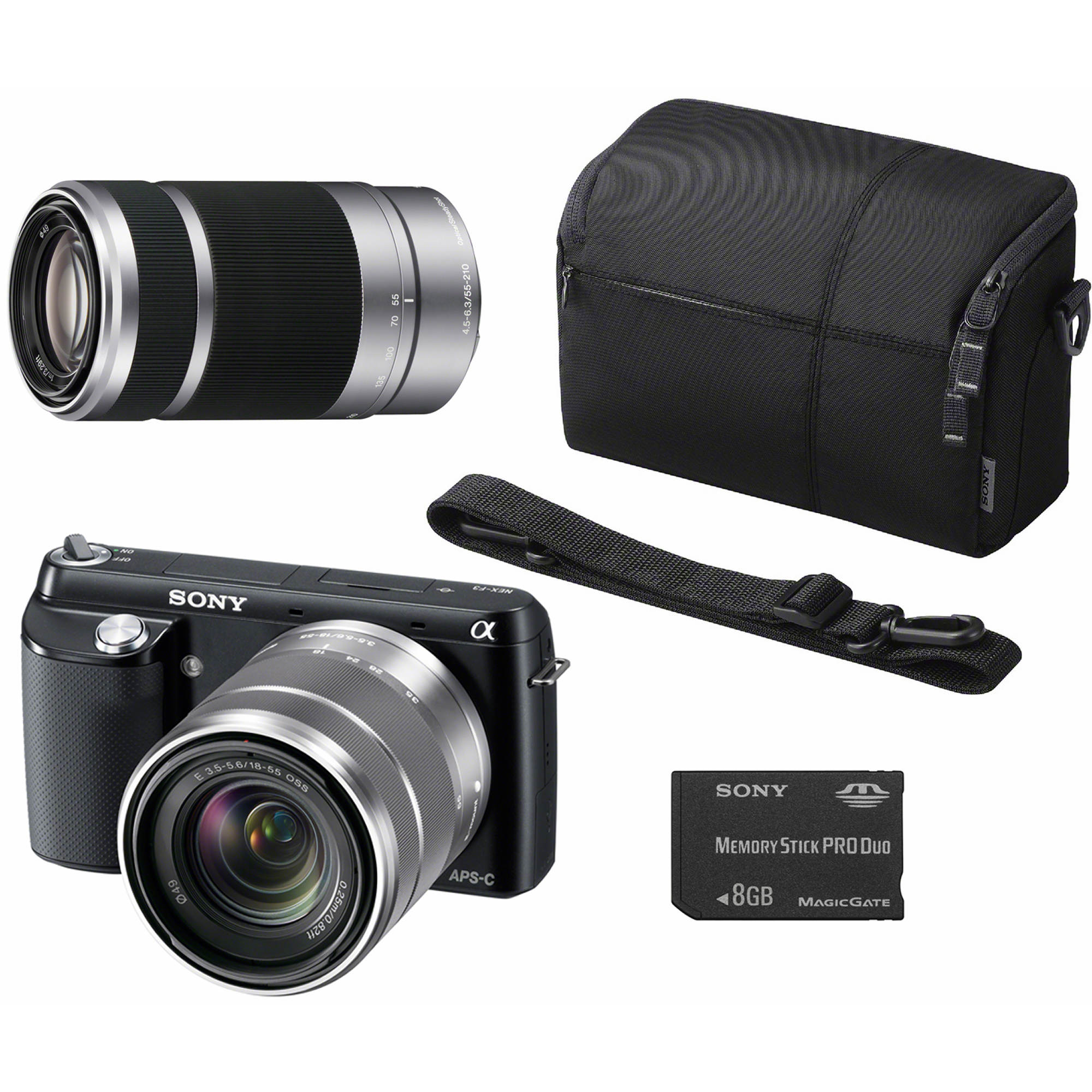 "Sony NEX-F3K/B 16.7MP 3"" LCD Compact Interchangeable Lens Digital Camera Bundle with 55-210mm Telephoto Lens and 8GB SD Card"