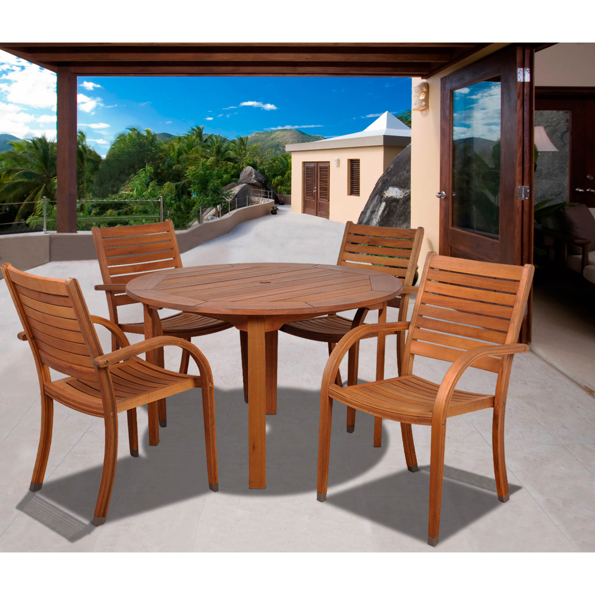 Amazonia Kentucky 5-Pc. Round Eucalyptus Dining Set with Bonus Feron's Wood Sealer/Preservative