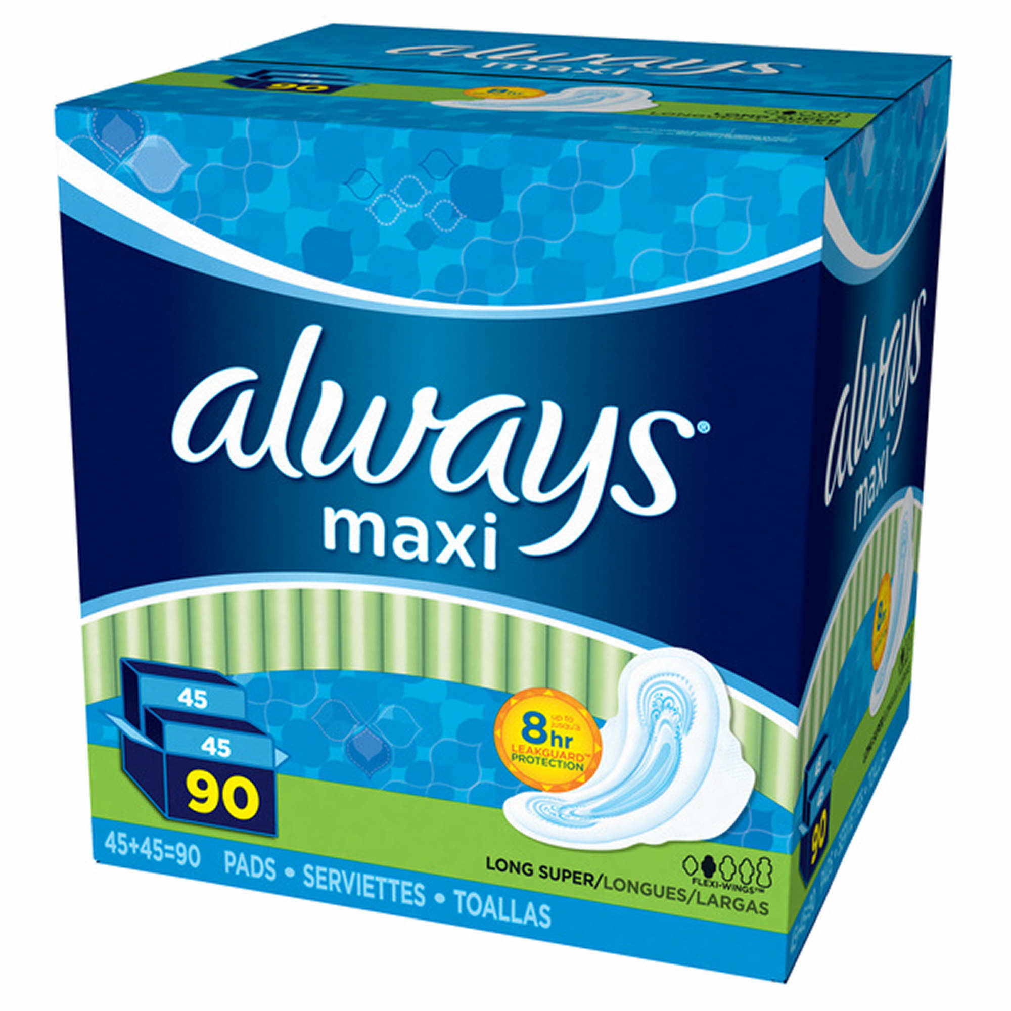 Always Long and Super Maxi Pads with Flexi-Wings Multipack, 90 ct.