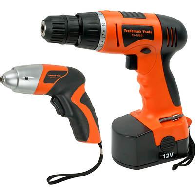 Trademark Tools 74-Piece 12V Cordless Drill and 3.6V Cordless Driver Set