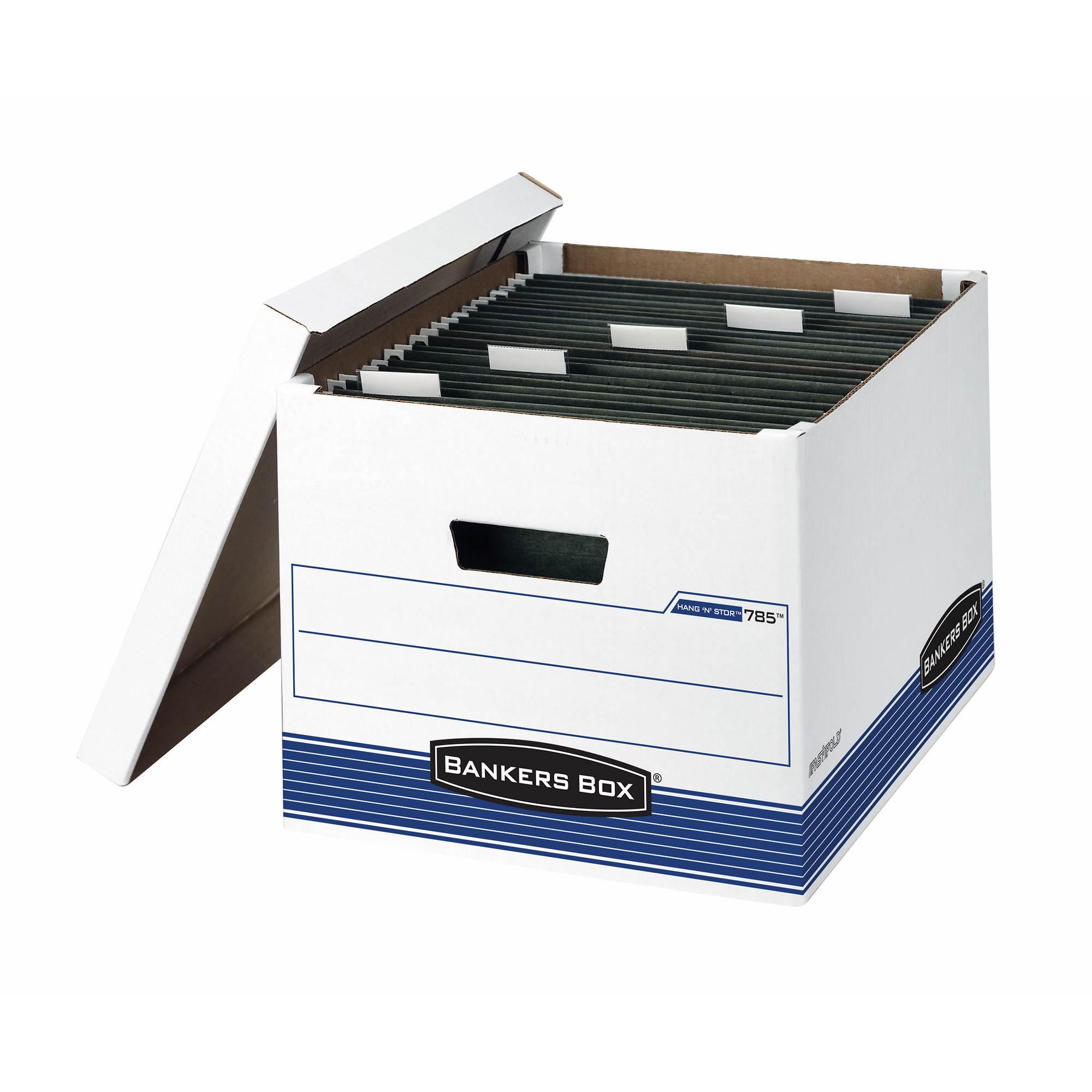 Fellowes Bankers Box Hang'N'Stor File Storage Box, Letter/Legal, 4-Pk - White/Blue