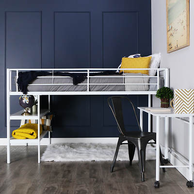 W. Trends Twin-Size Loft Bed with Desk and Shelves - White