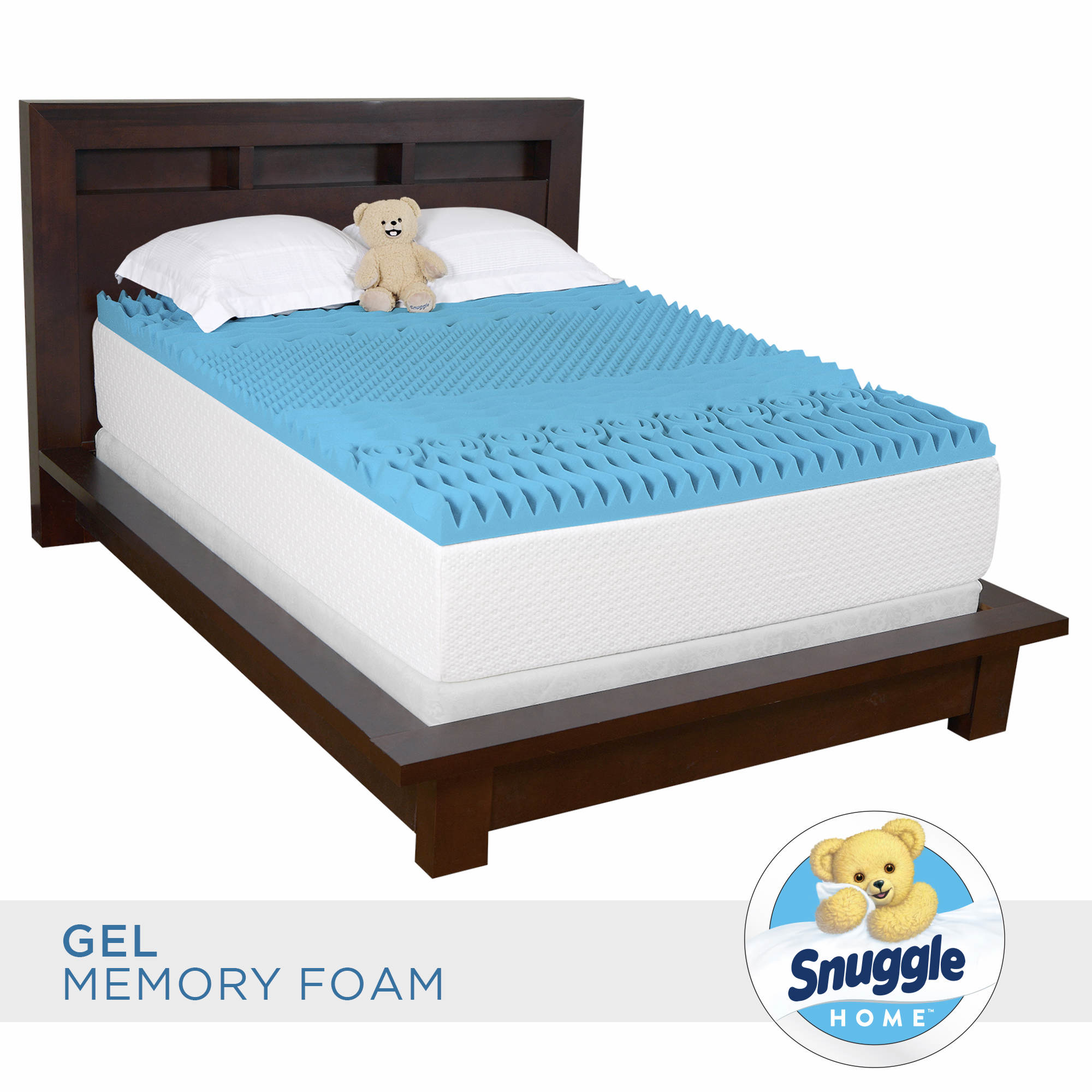 "Snuggle Home Full-Size 3"" Gel Memory Foam 7-Zone Mattress Topper with Skirted Cover"