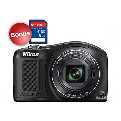 Nikon COOLPIX L620 18MP CMOS 3'' LCD 14x Optical Zoom Digital Camera, Bonus 8GB SD Card - Black