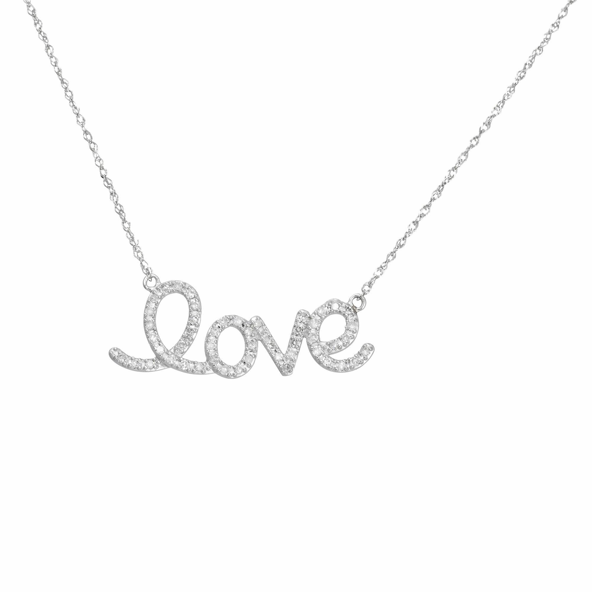 .25 ct. t.w. Diamond Love Necklace in 14k White Gold