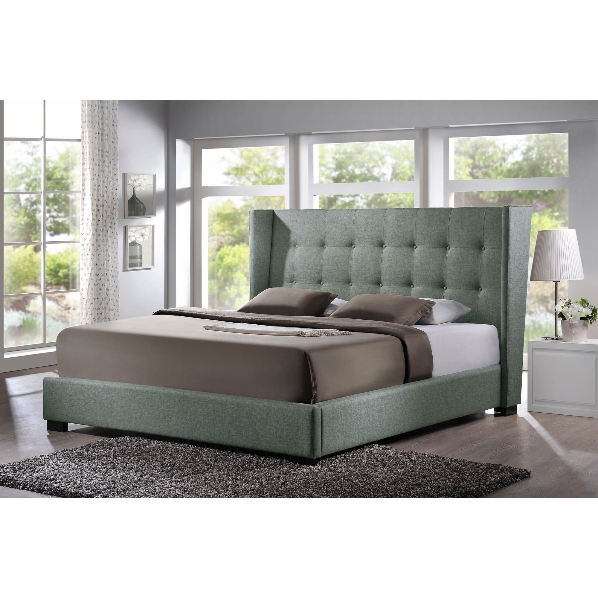 Baxton Studio Favela King-Size Platform Bed with Upholstered Headboard - Gray