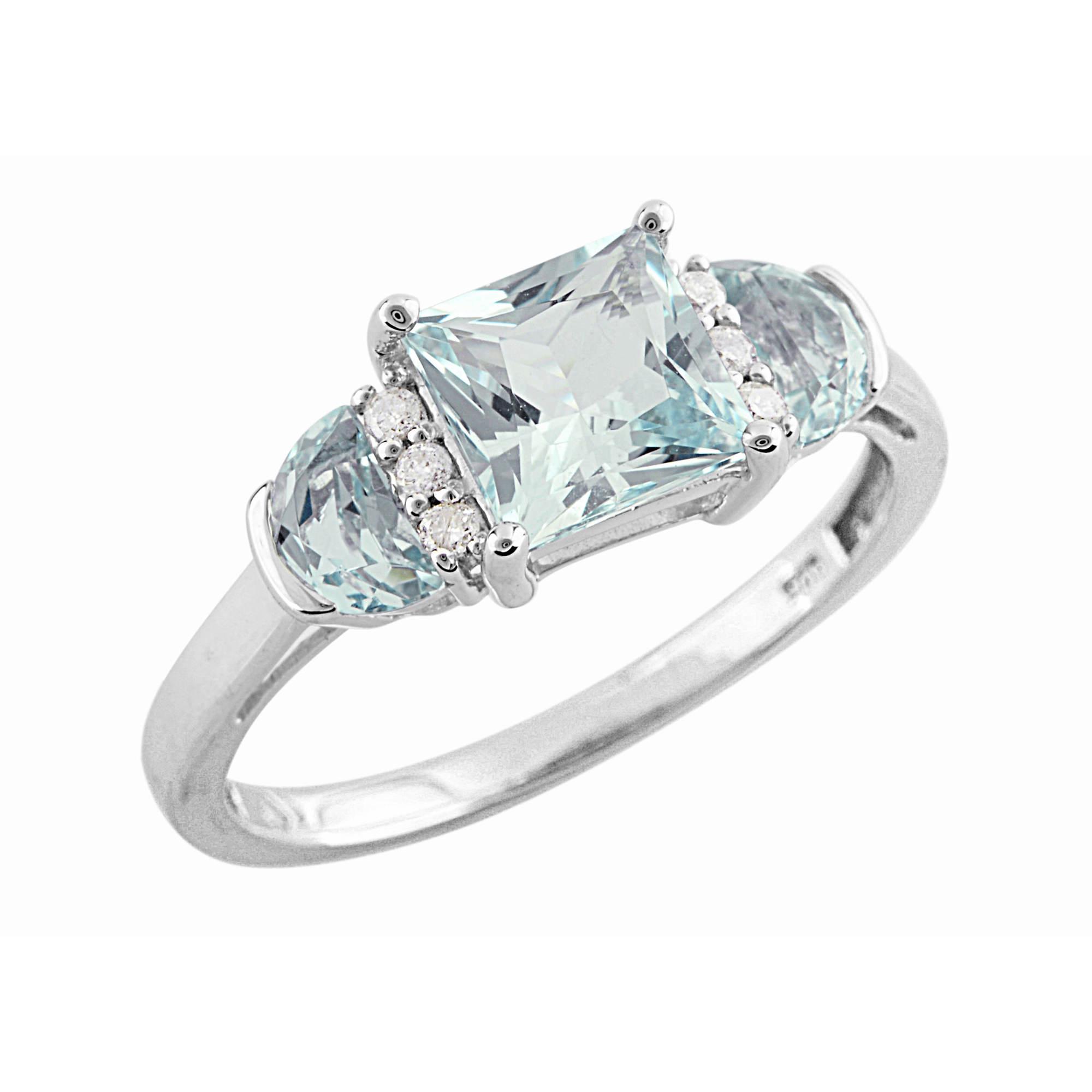 1 25 ct t w princess cut aquamarine and ring in