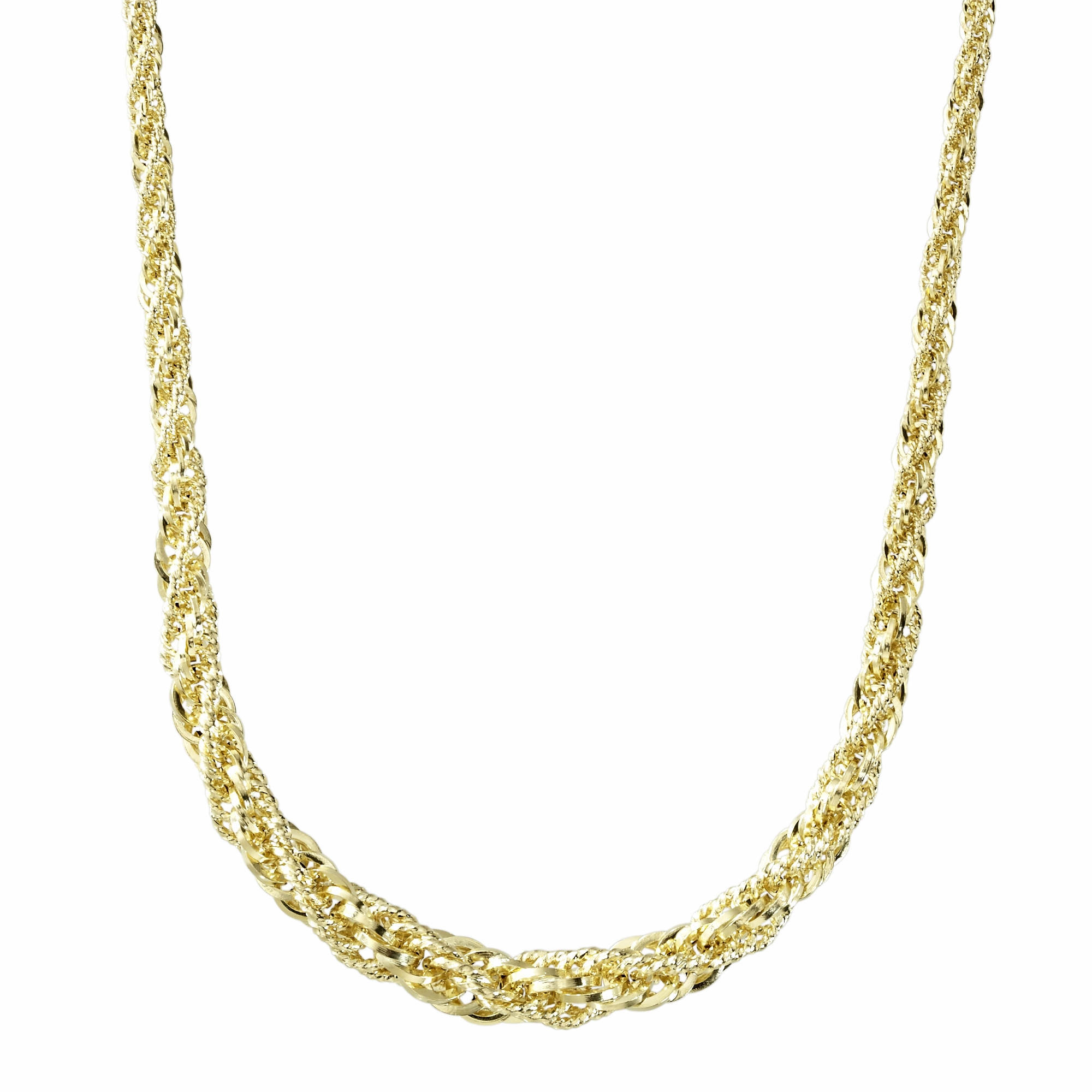 14K Yellow Gold Chain Wrapped Rope Necklace