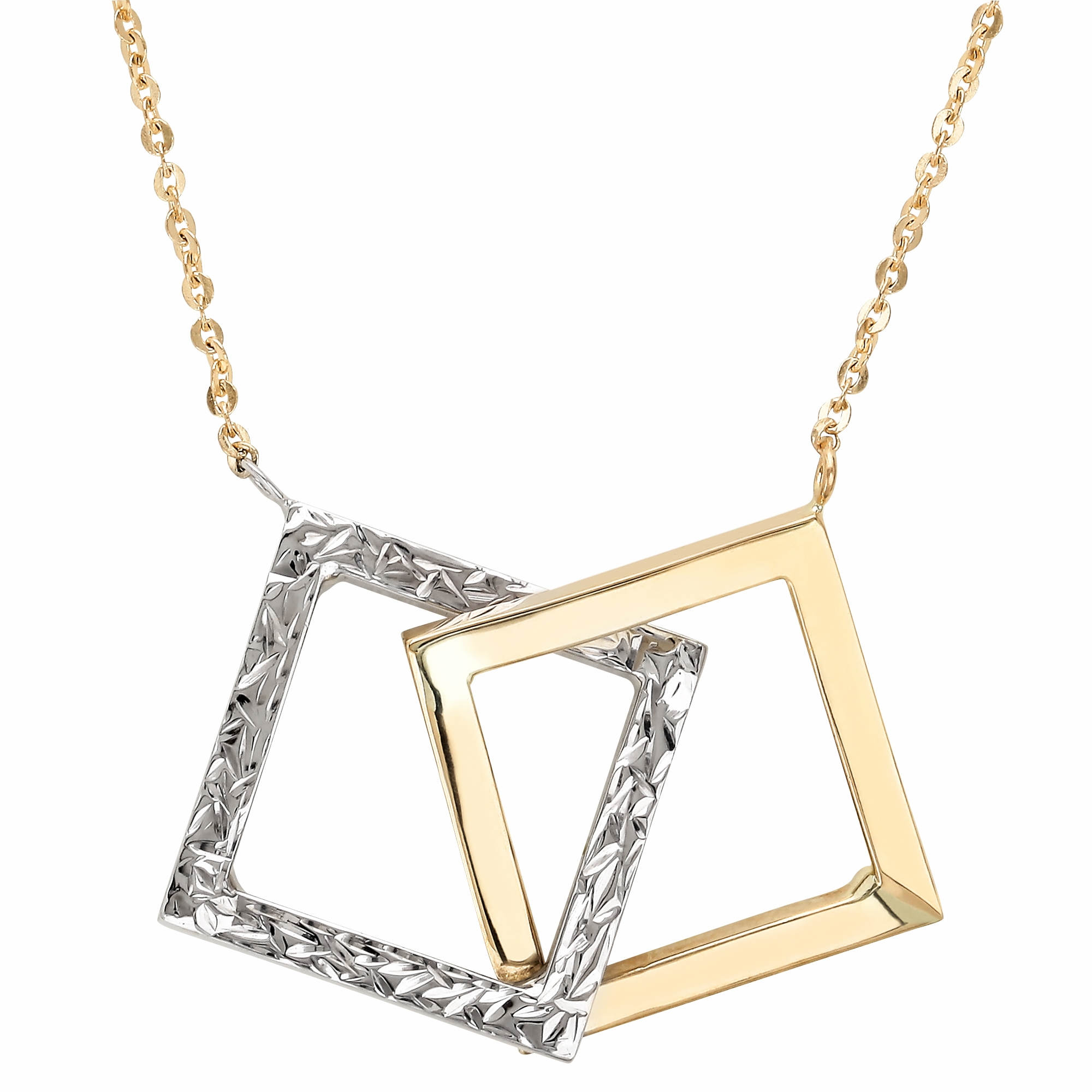 14k Two-Tone Gold Interlocking Square Pendant  Necklace
