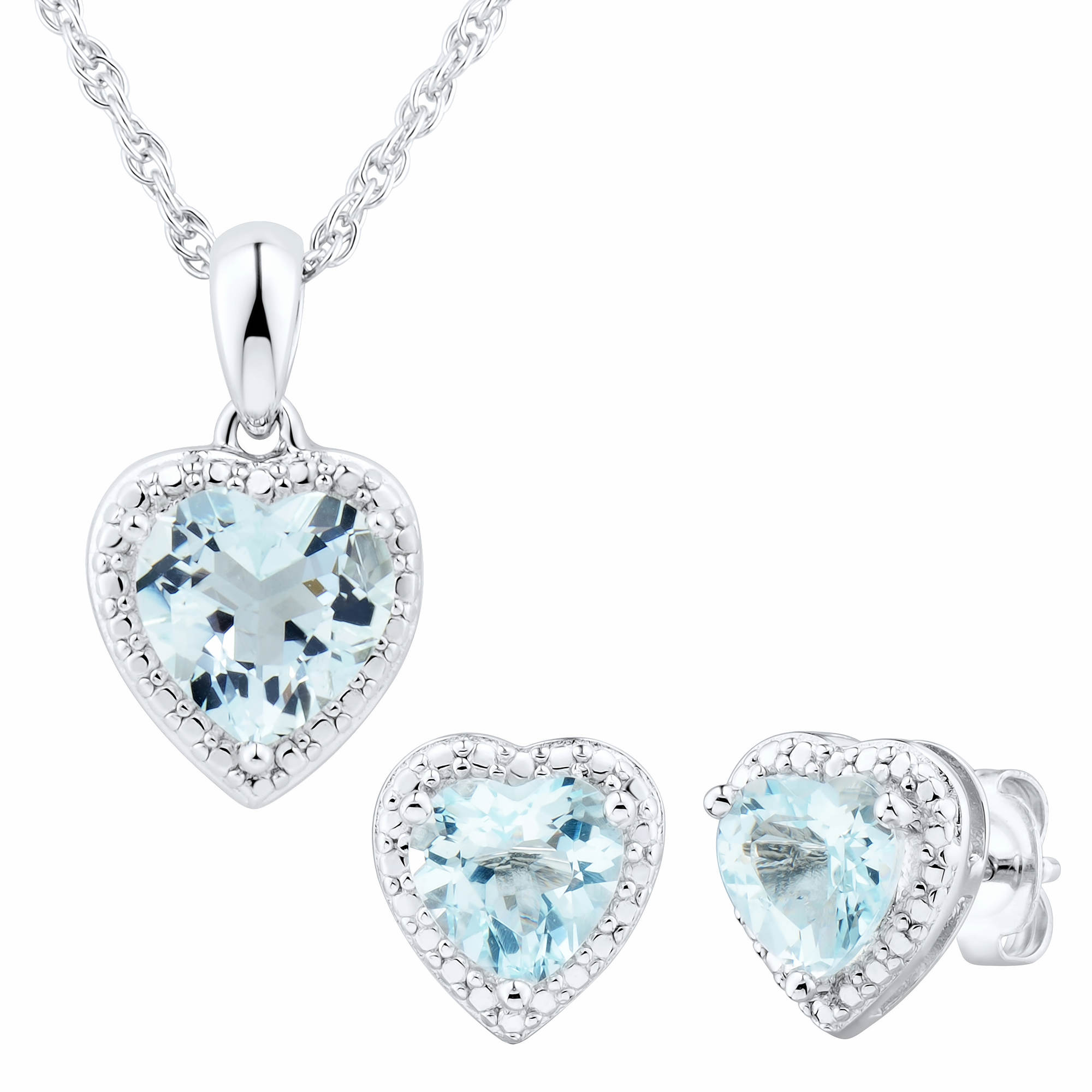 Aquamarine Heart-Shaped 2-Pc. Jewelry Set in Sterling Silver