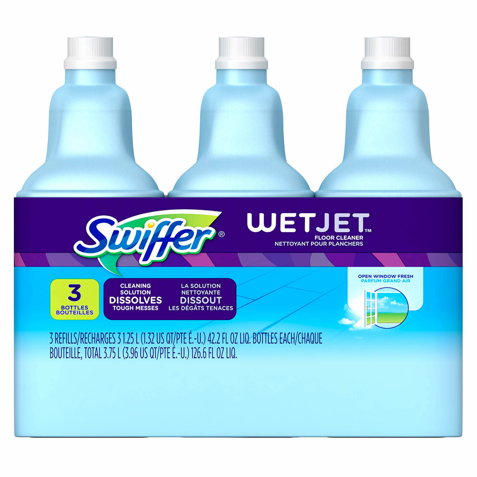 Swiffer WetJet Multi-Purpose Cleaner Solution Refill, Open Window Fresh Scent, 1.25L., 3 pk.