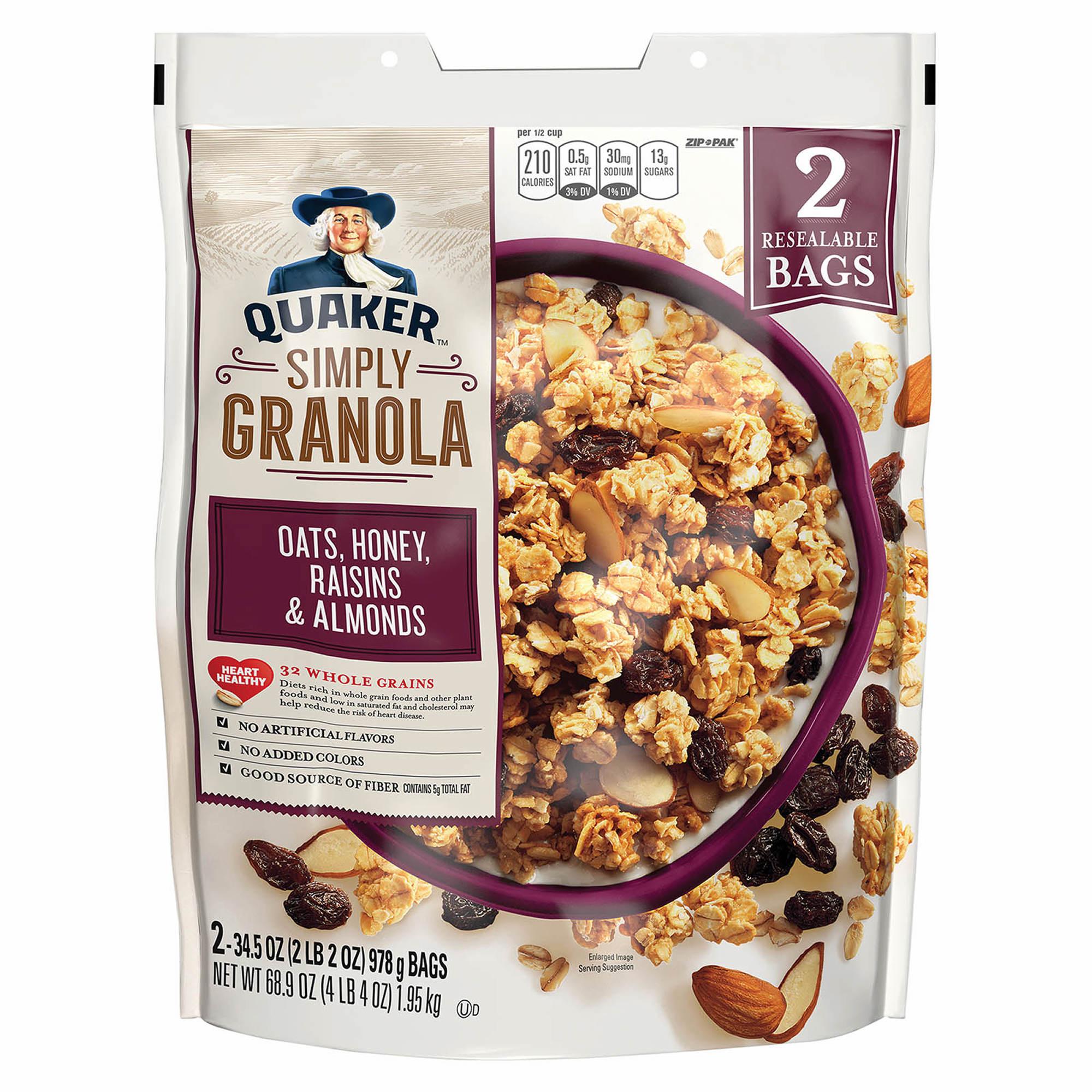 Quaker Simply Granola Oats, Honey, Raisins and Almonds, 2 pk./34.5 oz.