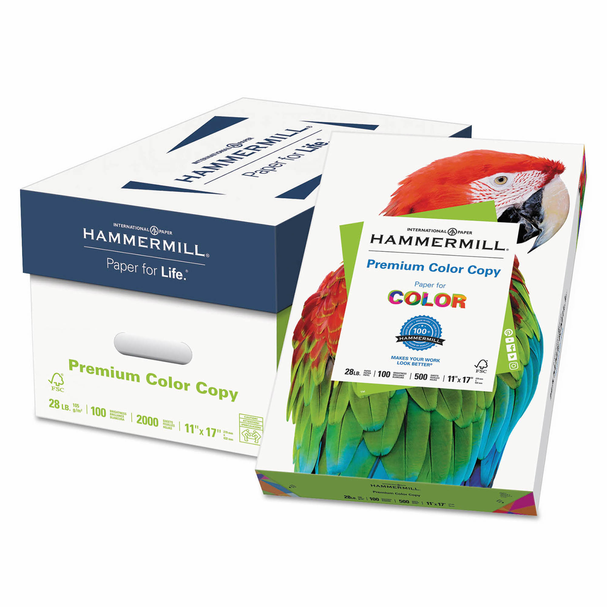 "Hammermill Color Copy Paper with 100 Brightness, 28-lb., 11"" x 17"", 500 ct. - Photo White"